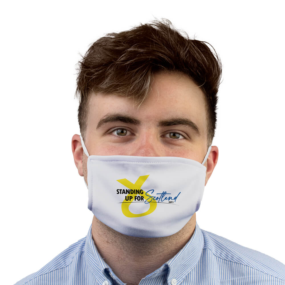 snp standing up for scotland face mask white