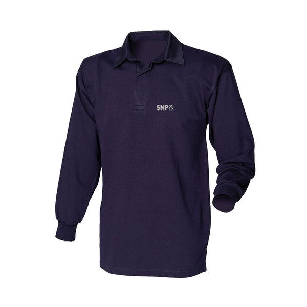 Embroidered Navy Long Sleeved SNP Rugby Shirt