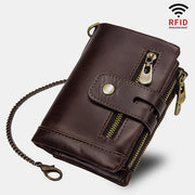 Vintage RFID Leather Wallet With Chain