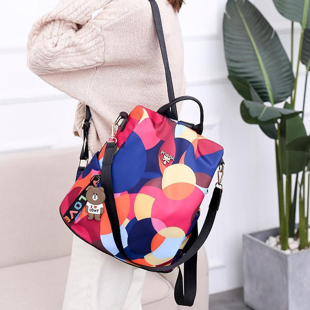 Anti-theft Floral Print Waterproof Backpack
