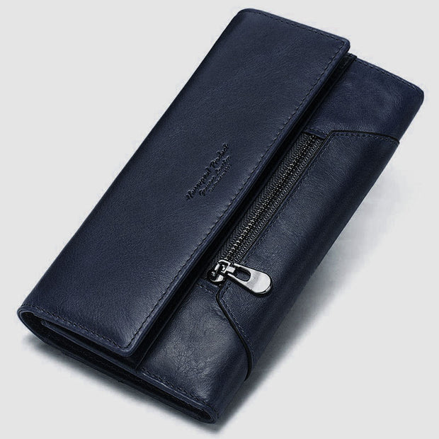 RFID Anti-Theft Multi-Card Genuine Leather Wallet