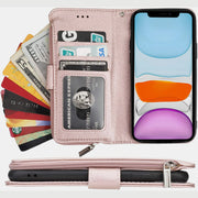 Wallet Case for iPhone Samsung with Strap