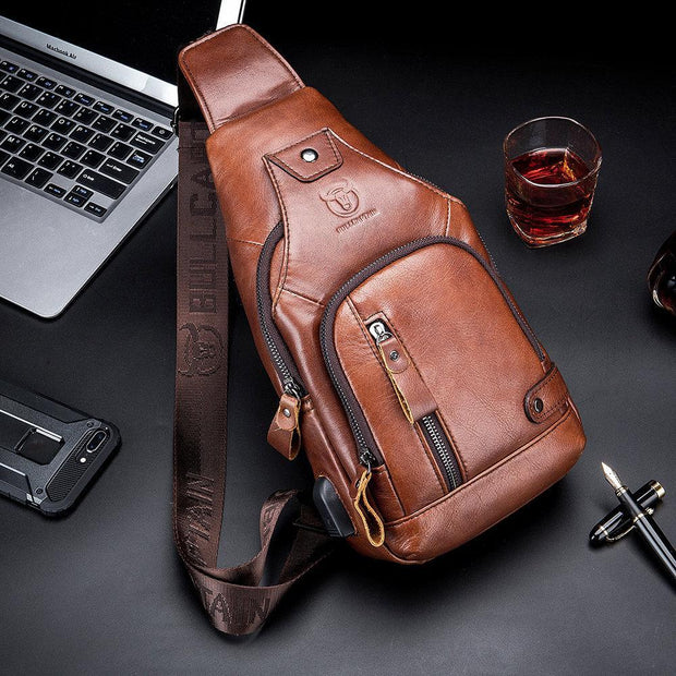 USB Charging Genuine Leather Sling Bag