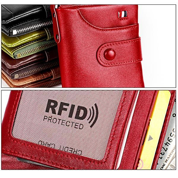 Rfid Blocking Leather Retro Wallet With Chain