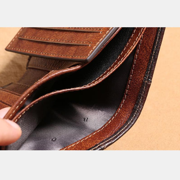 Genuine Leather RFID Multi-Card Bifold Wallet