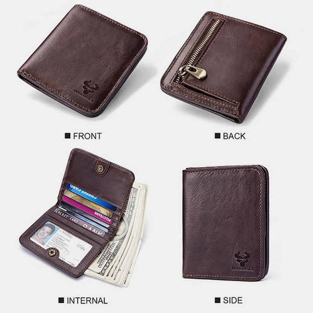 Real Leather Retro Multifunctional Slim Wallet