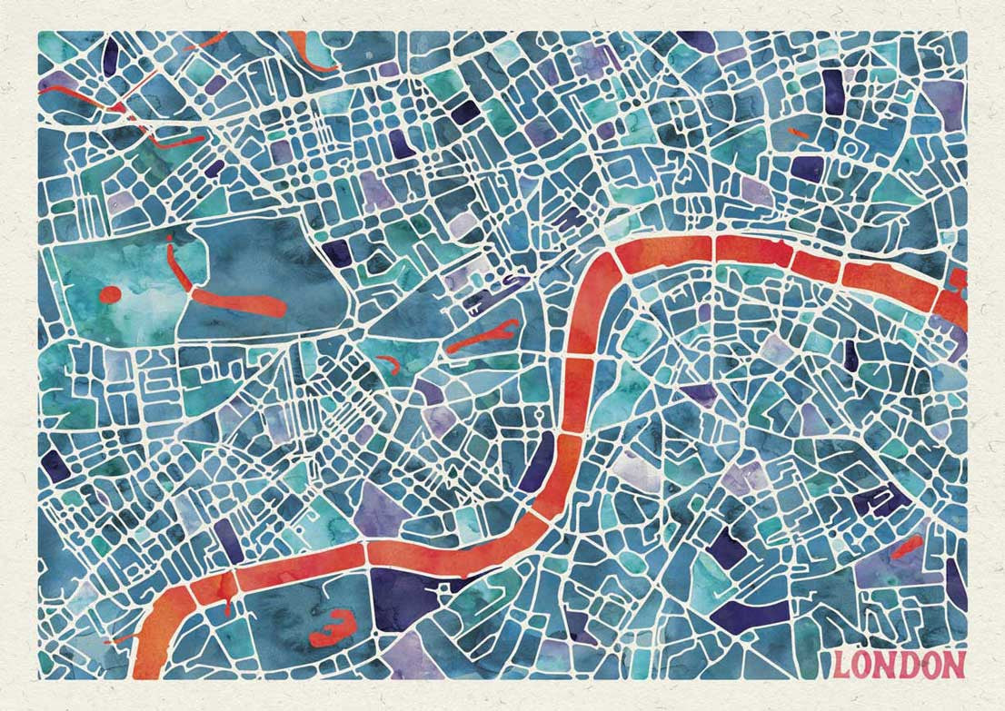 Graphic Watercolour Map of London Great Little Print Store