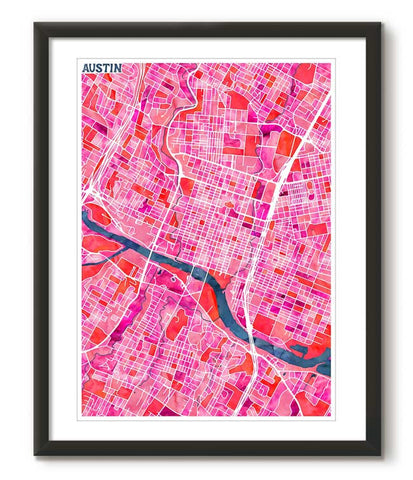 Graphic Watercolour Map of Austin - Great Little Place Store - 1