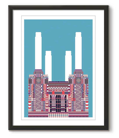 Multicolour Battersea Power Station - Teal - Great Little Print Store