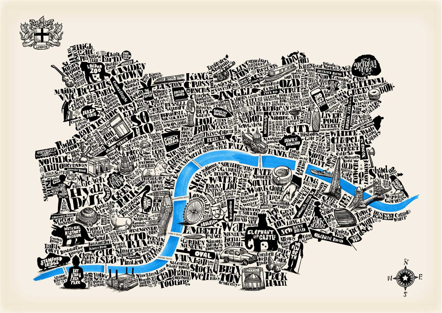 Special Edition Typographical Map Of London Ivory Paper