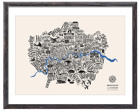 Typographical Map of London Boroughs - Dark Blue - Great Little Place Store - 1