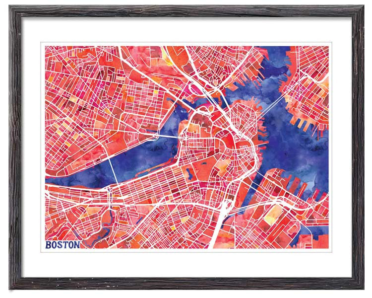 Graphic Watercolour Map of Boston
