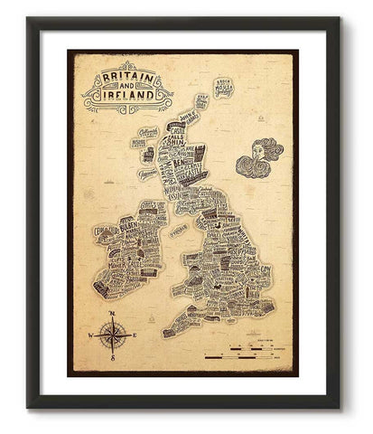 Typographic Britain and Ireland Vintage Style Map Print - Great Little Print Store