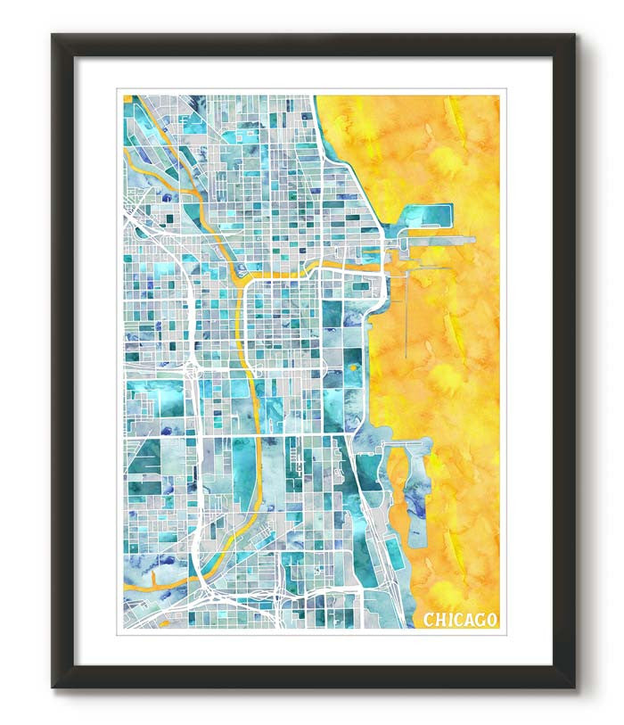 Graphic Watercolour Map of Chicago