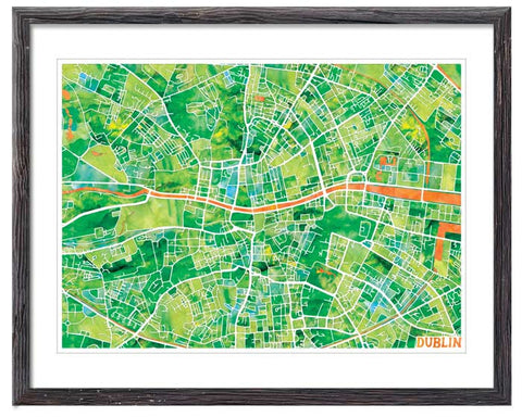 Graphic Watercolour Map of Dublin - Great Little Place Store - 1