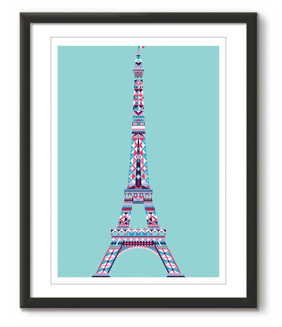 Multicolour Eiffel Tower - Tiffany Blue