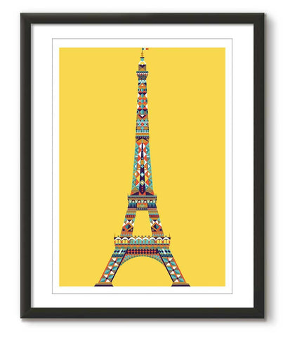 Multicolour Eiffel Tower - Yellow - Great Little Print Store