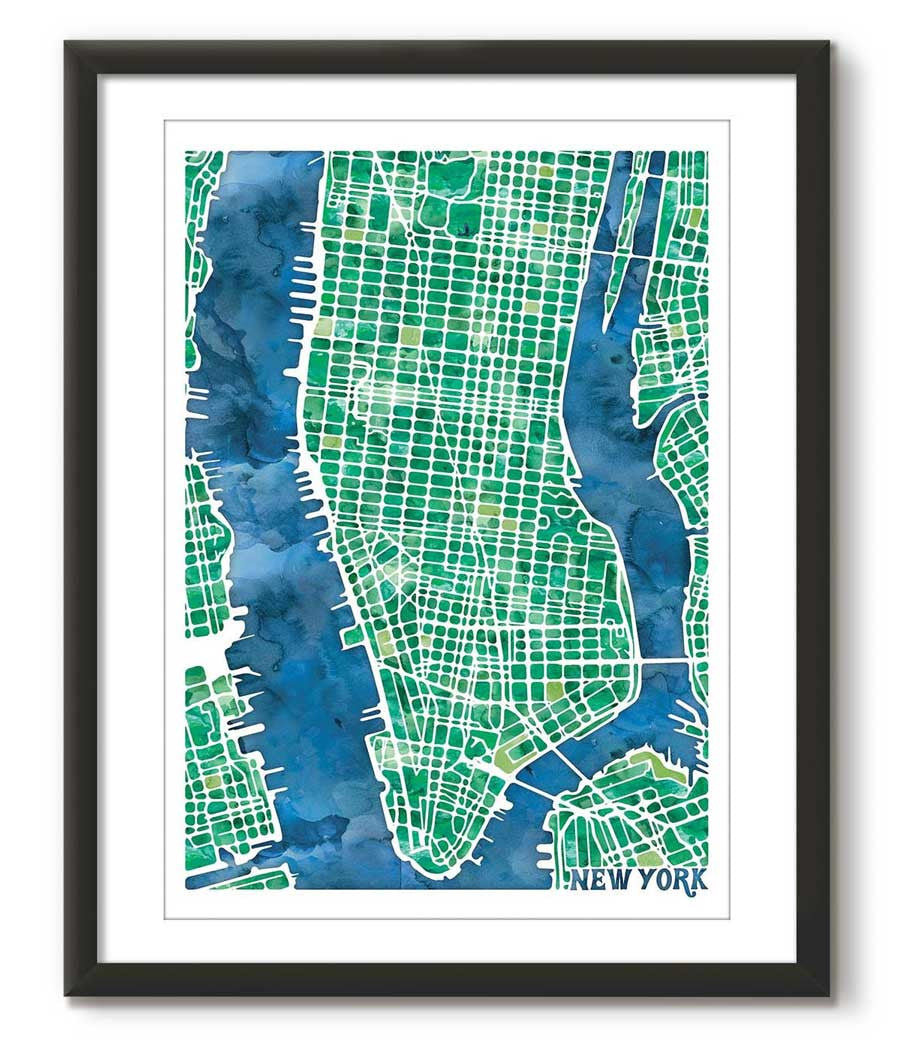 Graphic Watercolour Map of New York