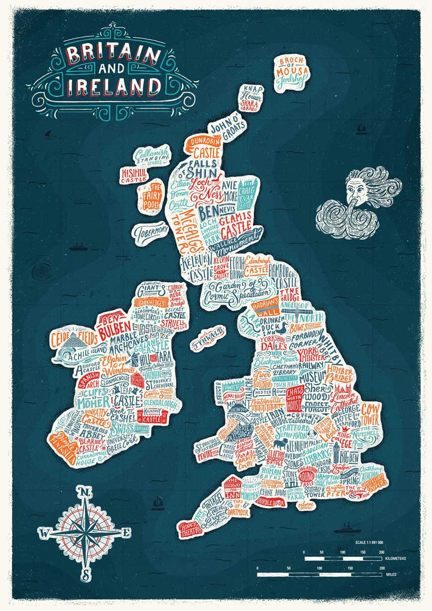 typographic britain and ireland colour map print u2013 great little