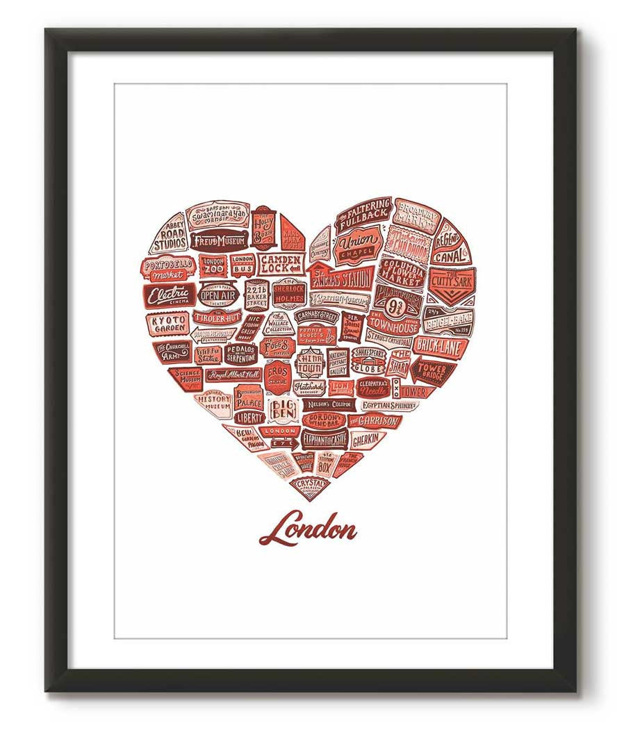 Typographical Heart of London - Red