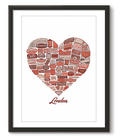 Typographical Heart of London - Red - Great Little Print Store