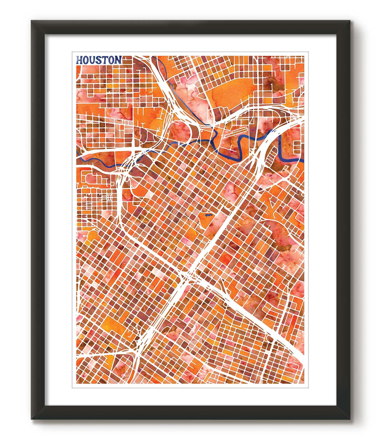 Graphic Watercolour Map of Houston