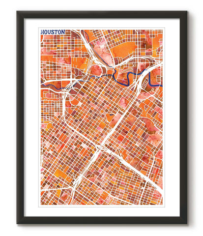 Graphic Watercolour Map of Houston - Great Little Place Store - 1