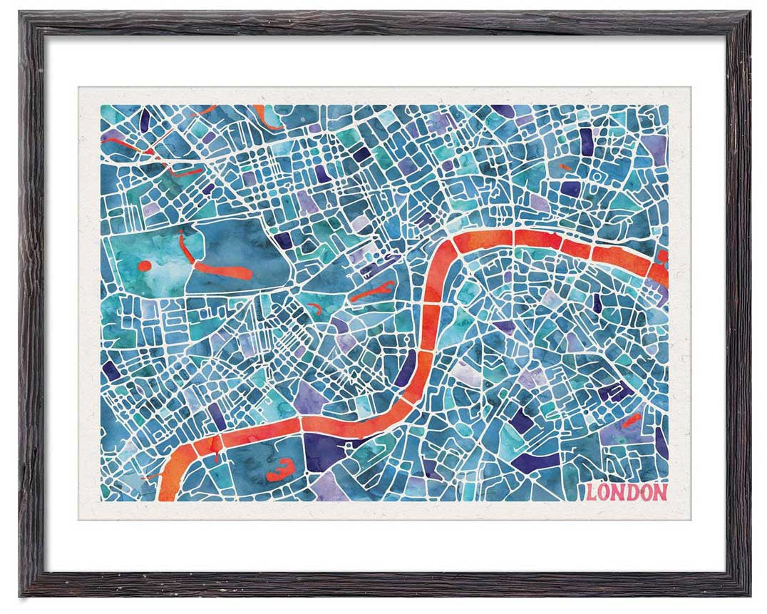 Graphic Watercolour Map of London