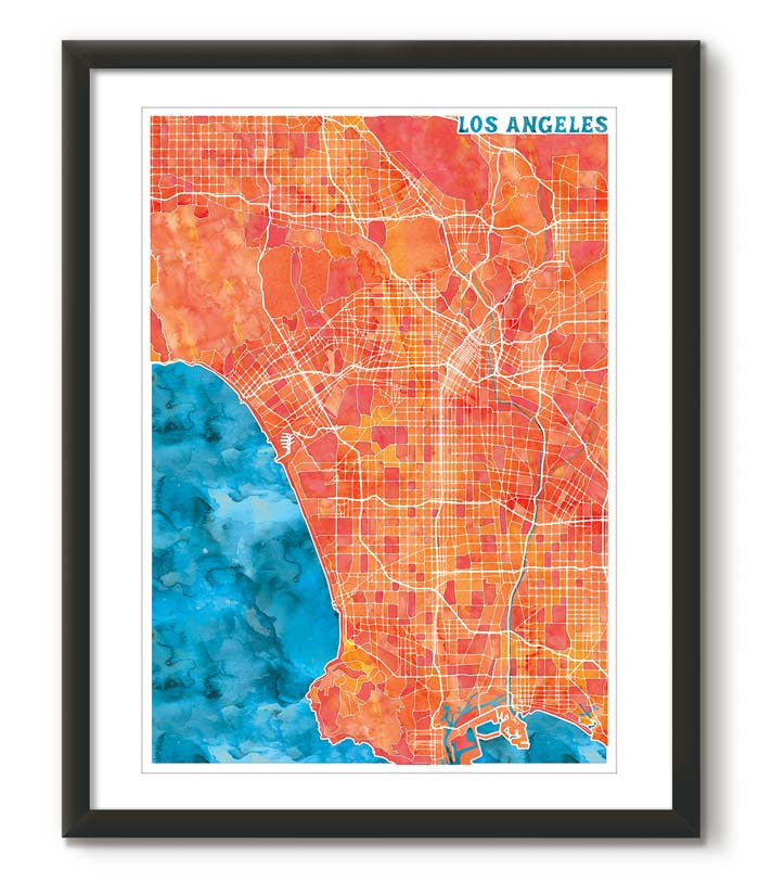 Graphic Watercolour Map of Los Angeles