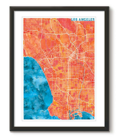 Graphic Watercolour Map of Los Angeles - Great Little Place Store - 1