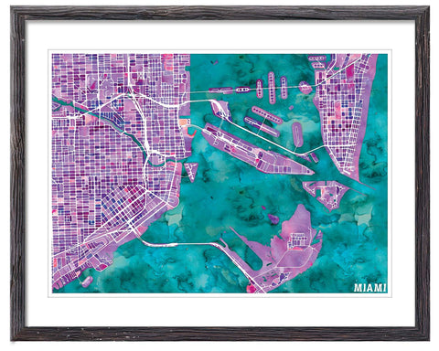 Graphic Watercolour Map of Miami - Great Little Print Store