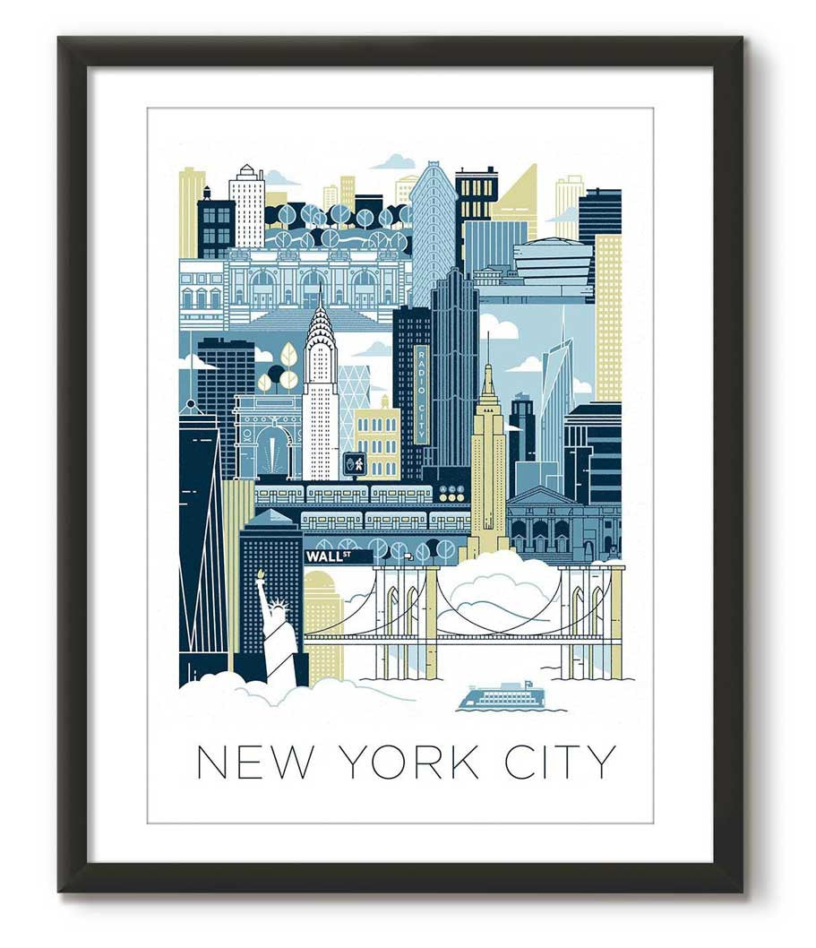 New York City illustrated - Blue
