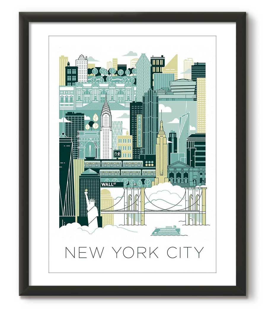 New York City illustrated - Green