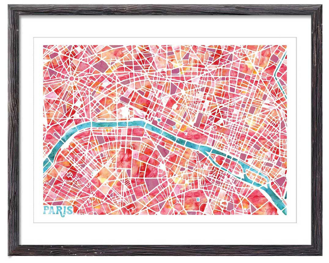 Graphic Watercolour Map of Paris