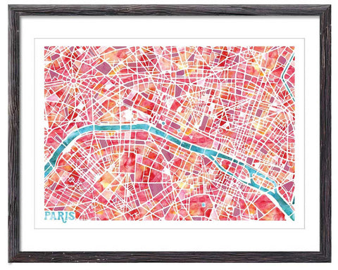 Graphic Watercolour Map of Paris - Great Little Print Store