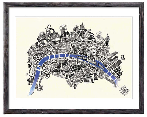 Typographical Map of Paris - Great Little Print Store