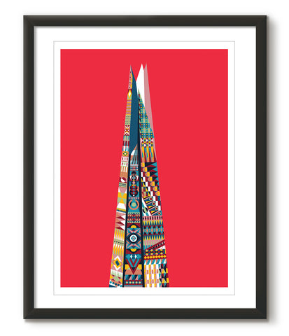 Multicoloured Shard - Red - Great Little Print Store
