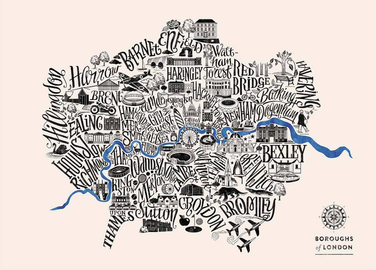 Typographical Map of London Boroughs Dark Blue Great Little