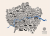 Typographical Map of London Boroughs - Dark Blue - Great Little Place Store - 6