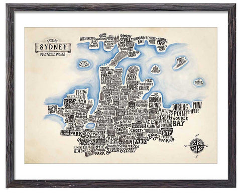 Typographical Map of Sydney - Great Little Print Store