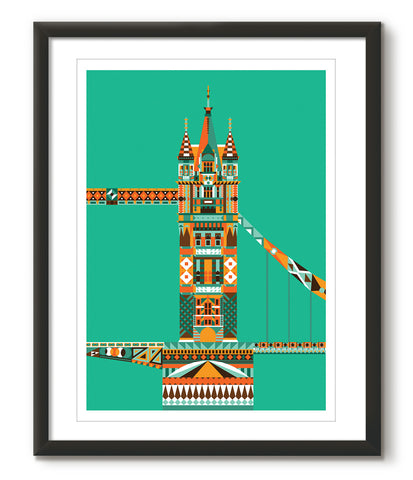 Multicoloured Tower Bridge - Green - Great Little Print Store