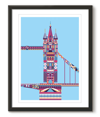 Multicoloured Tower Bridge - Blue - Great Little Print Store
