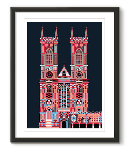 Multicoloured Westminster Abbey - Navy Blue - Great Little Print Store