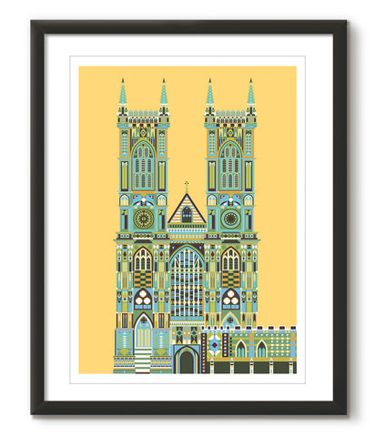 Multicoloured Westminster Abbey - Yellow - Great Little Print Store