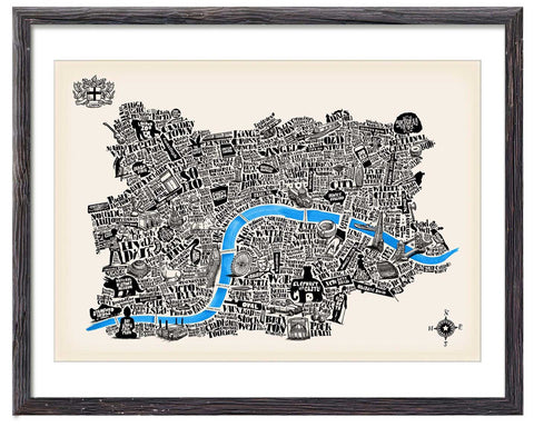 Special edition typographical map of London Ivory Paper Great