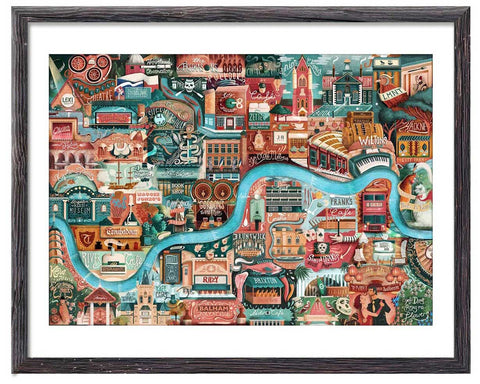 Illustrated map of London's great little places - Great Little Print Store
