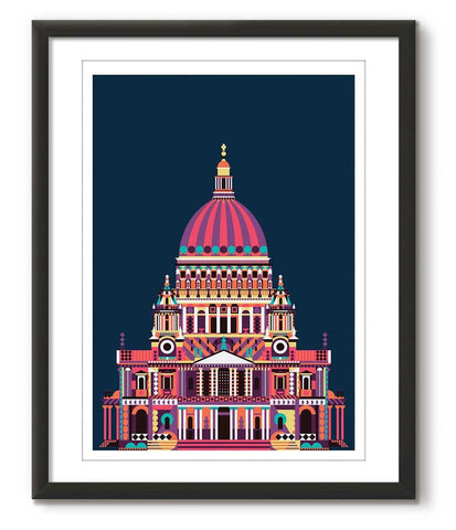 Multicolour St Paul's Cathedral - Blue - Great Little Print Store