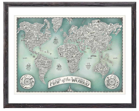 Typographical Map of the World - Great Little Print Store