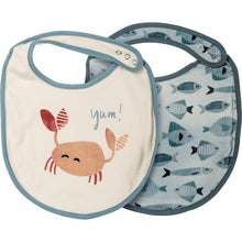 Load image into Gallery viewer, Happy + Bright Crab Yum! Bib Set