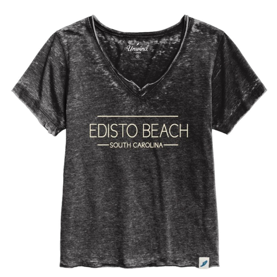 Edisto Beach Loose Fit V-Neck Burnout Tee